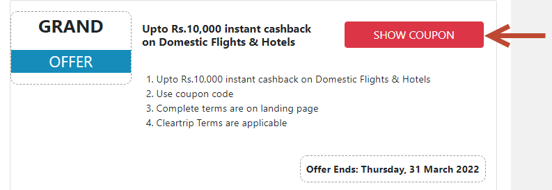 cleartrip promo code 2021